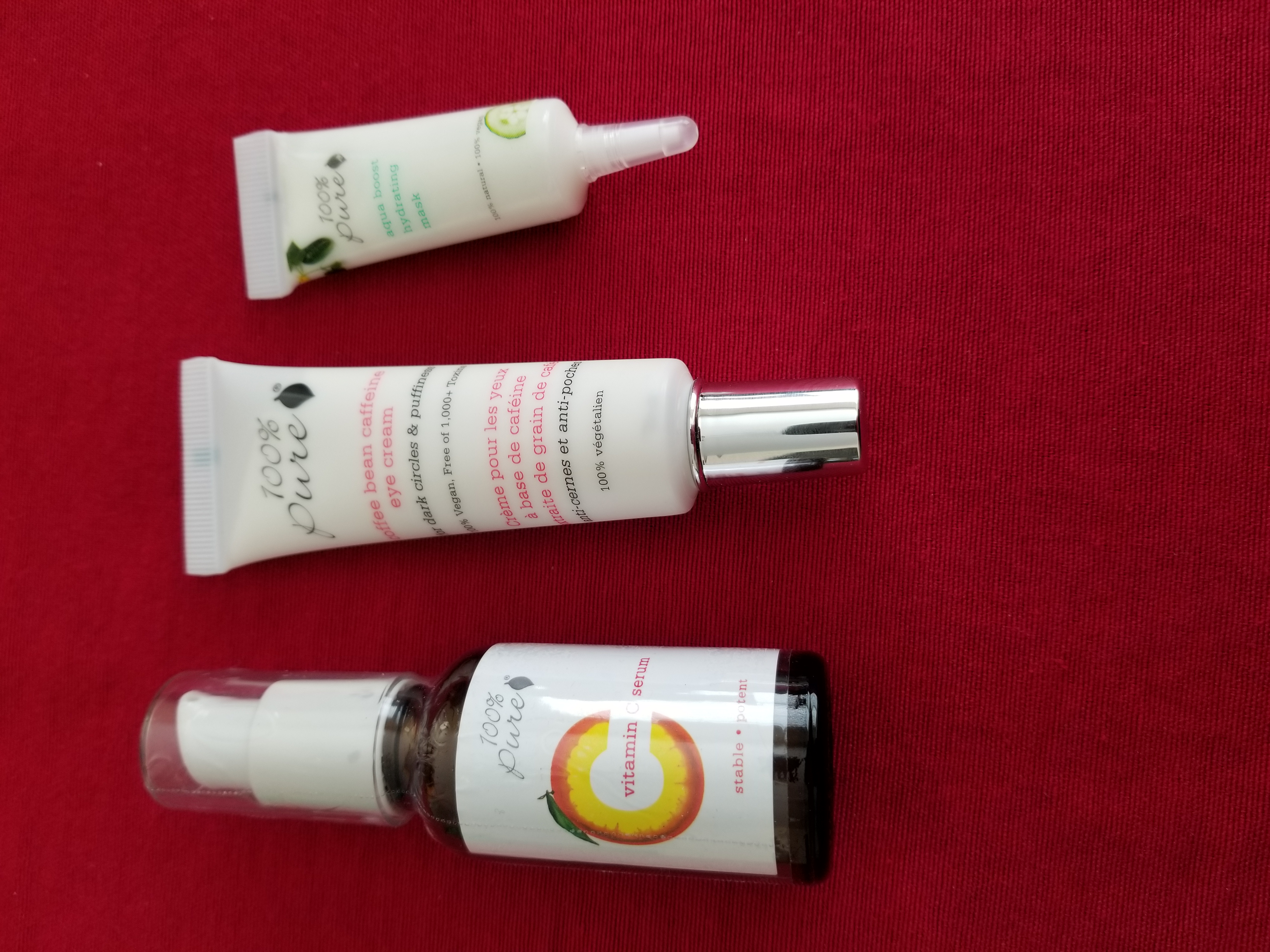 NEW! 100% Pure Vitamin C Serum & Coffee Bean eye Cream with Bonus Aqua Boost Mask